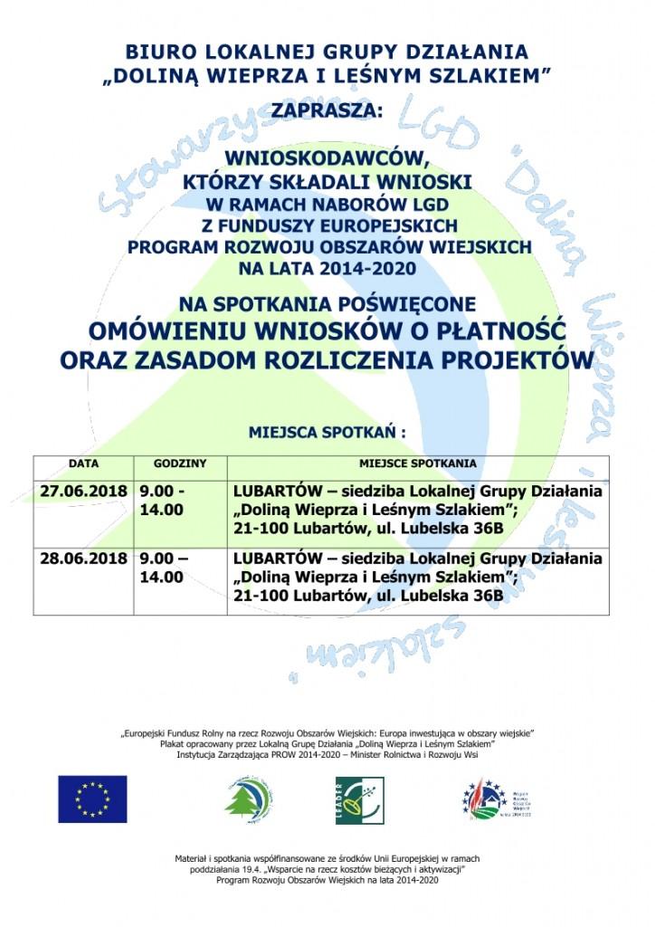 plakat spotkania informacyjne-rozliczanie projektów