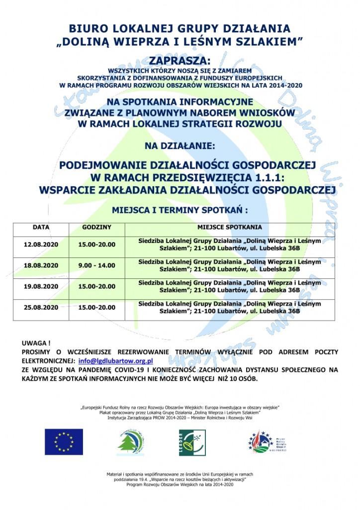 plakat spotkania informacyjne przednaborem wniosków